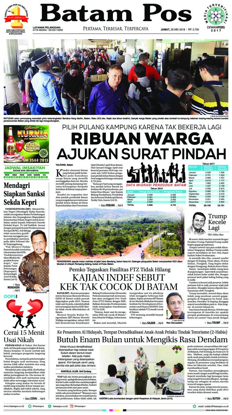 Koran Digital Batam Pos 25 Mei 2018
