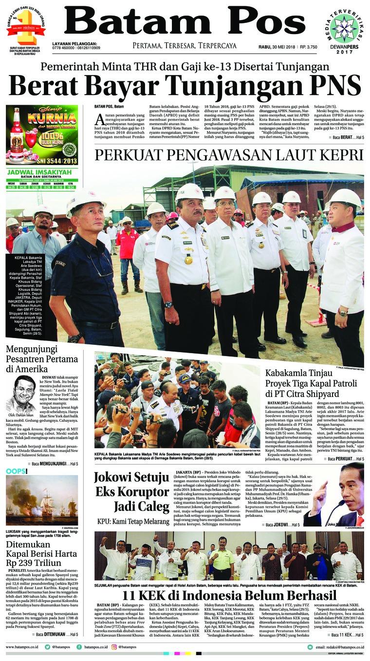 Koran Digital Batam Pos 30 Mei 2018