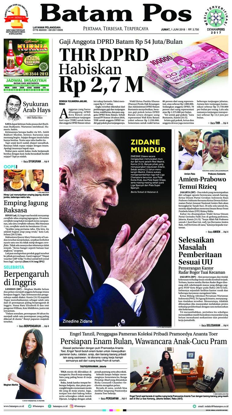 Koran Digital Batam Pos 01 Juni 2018