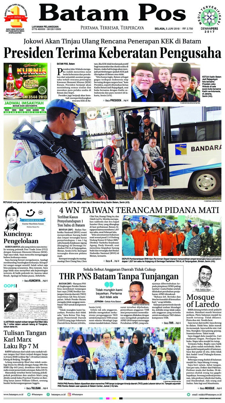 Batam Pos Digital Newspaper 05 June 2018