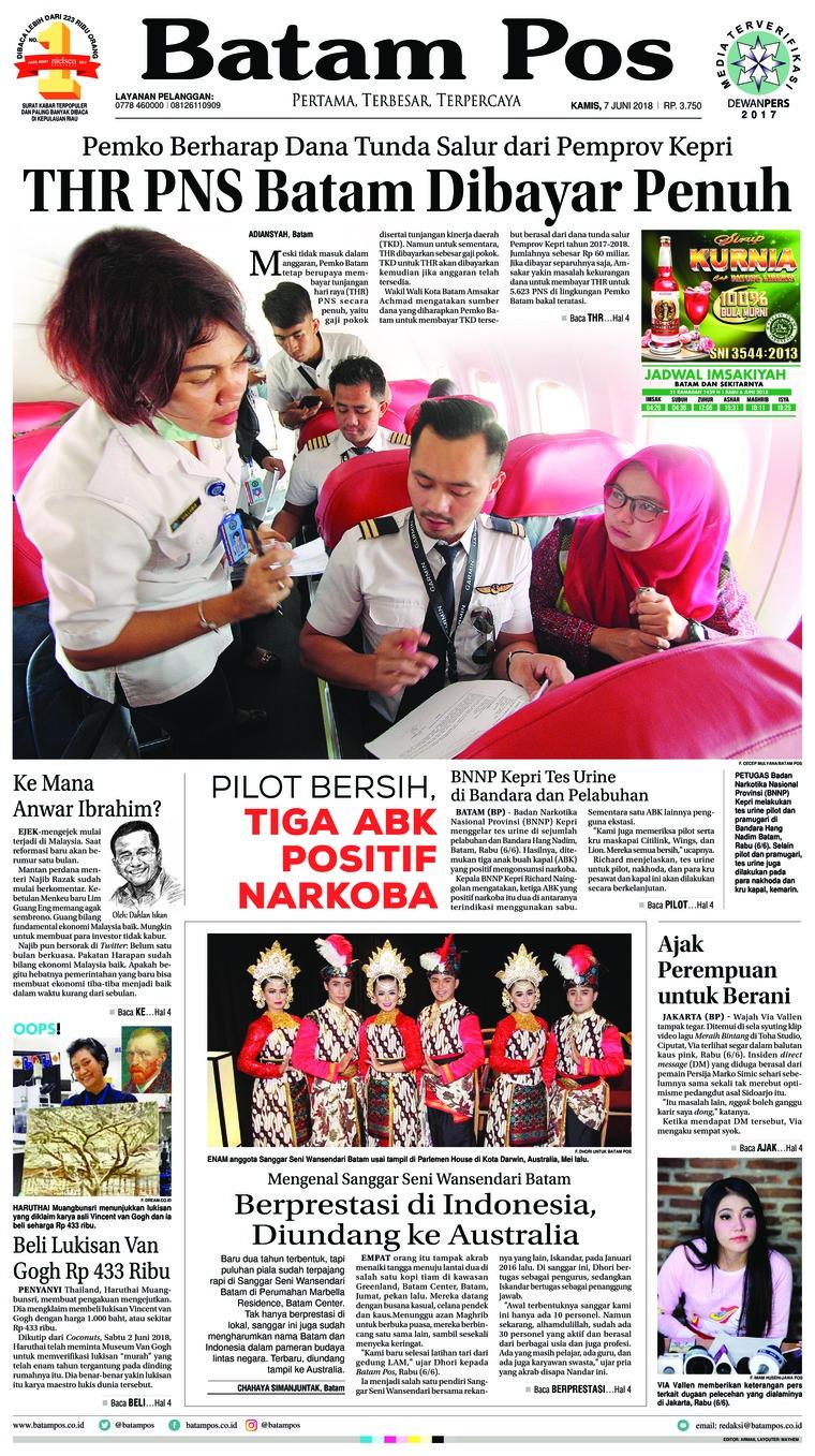 Batam Pos Digital Newspaper 07 June 2018