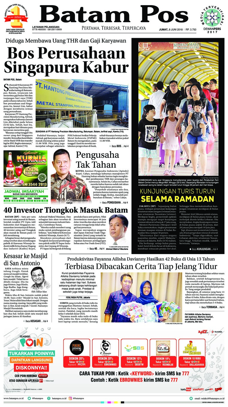 Batam Pos Digital Newspaper 08 June 2018