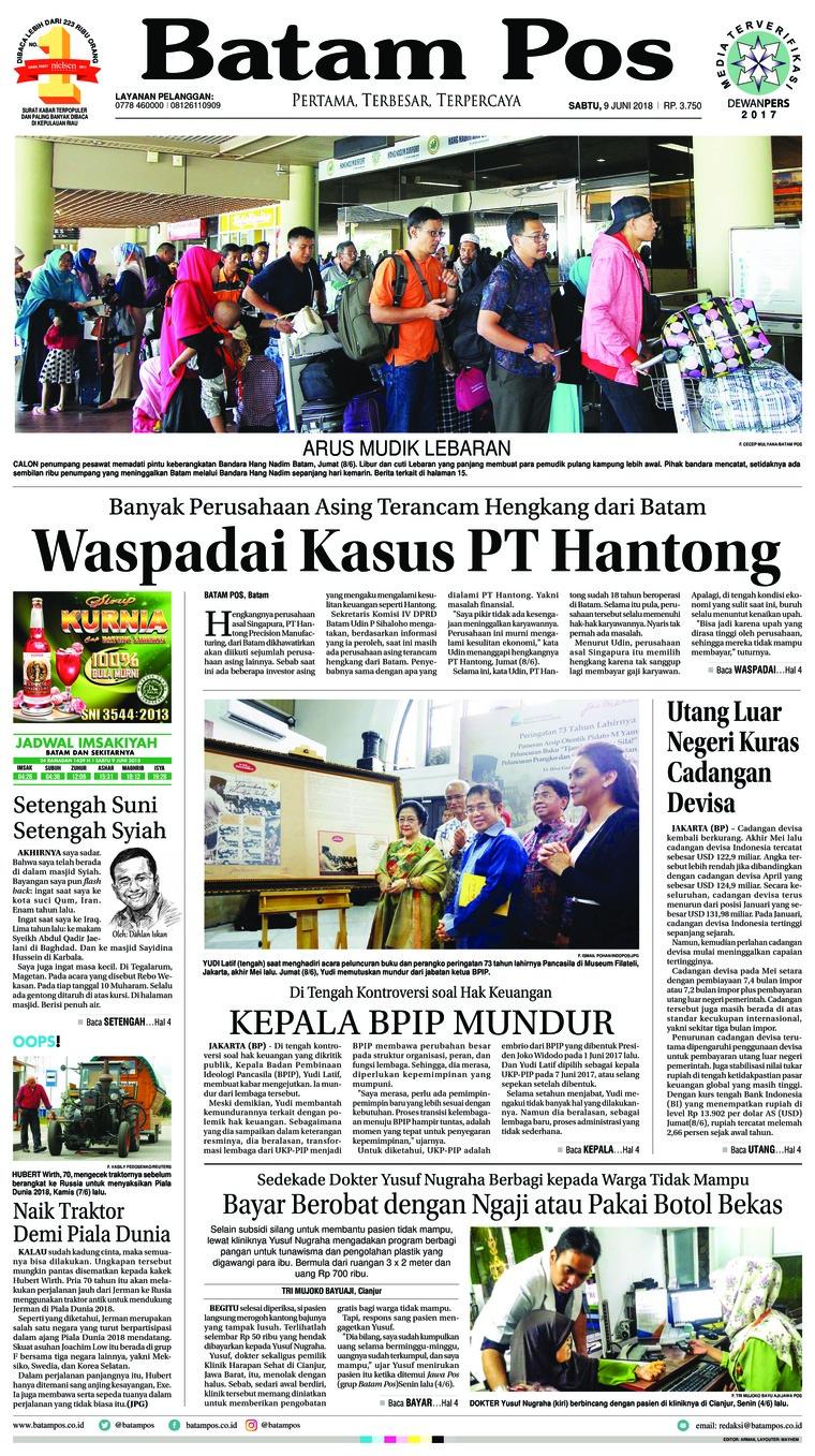 Koran Digital Batam Pos 09 Juni 2018