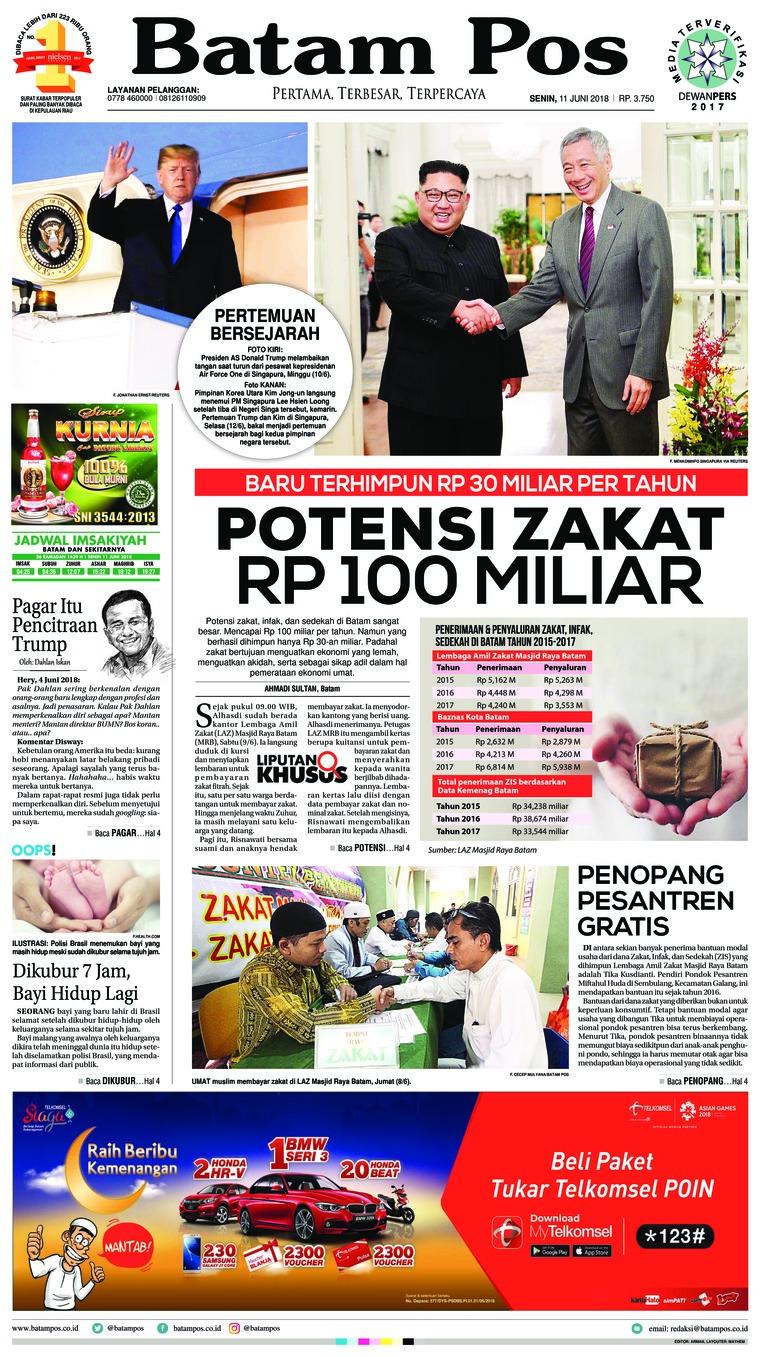Koran Digital Batam Pos 11 Juni 2018