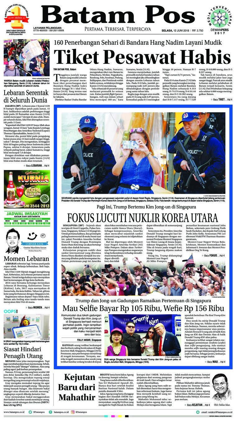 Koran Digital Batam Pos 12 Juni 2018