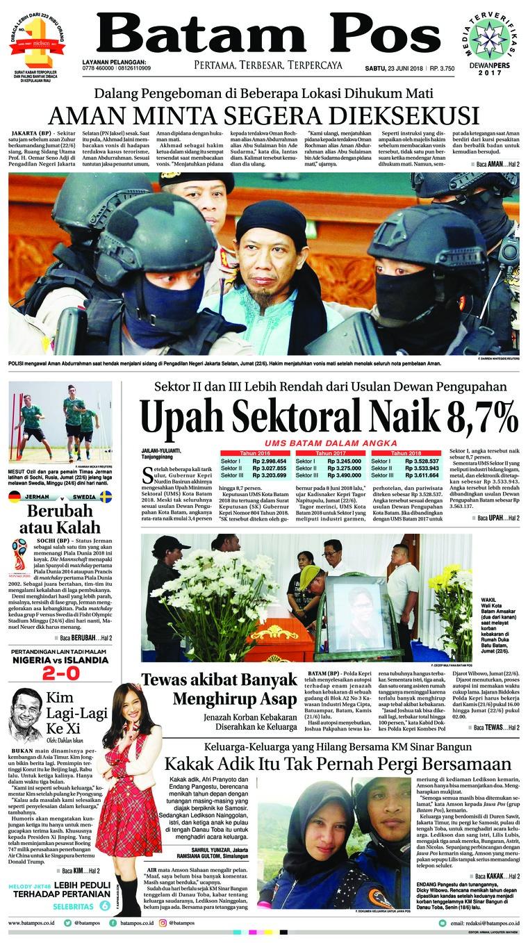 Batam Pos Digital Newspaper 23 June 2018