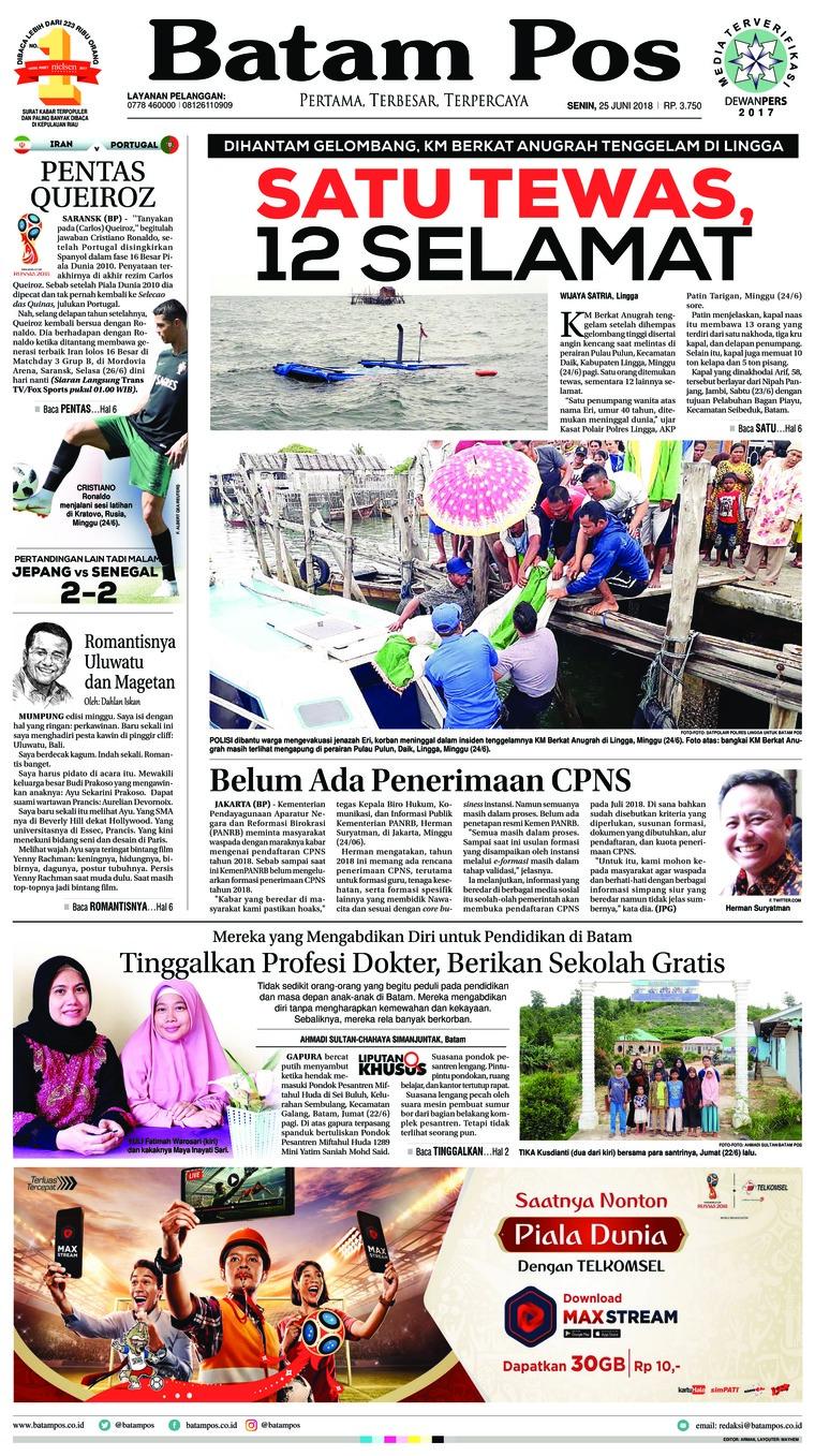Koran Digital Batam Pos 25 Juni 2018
