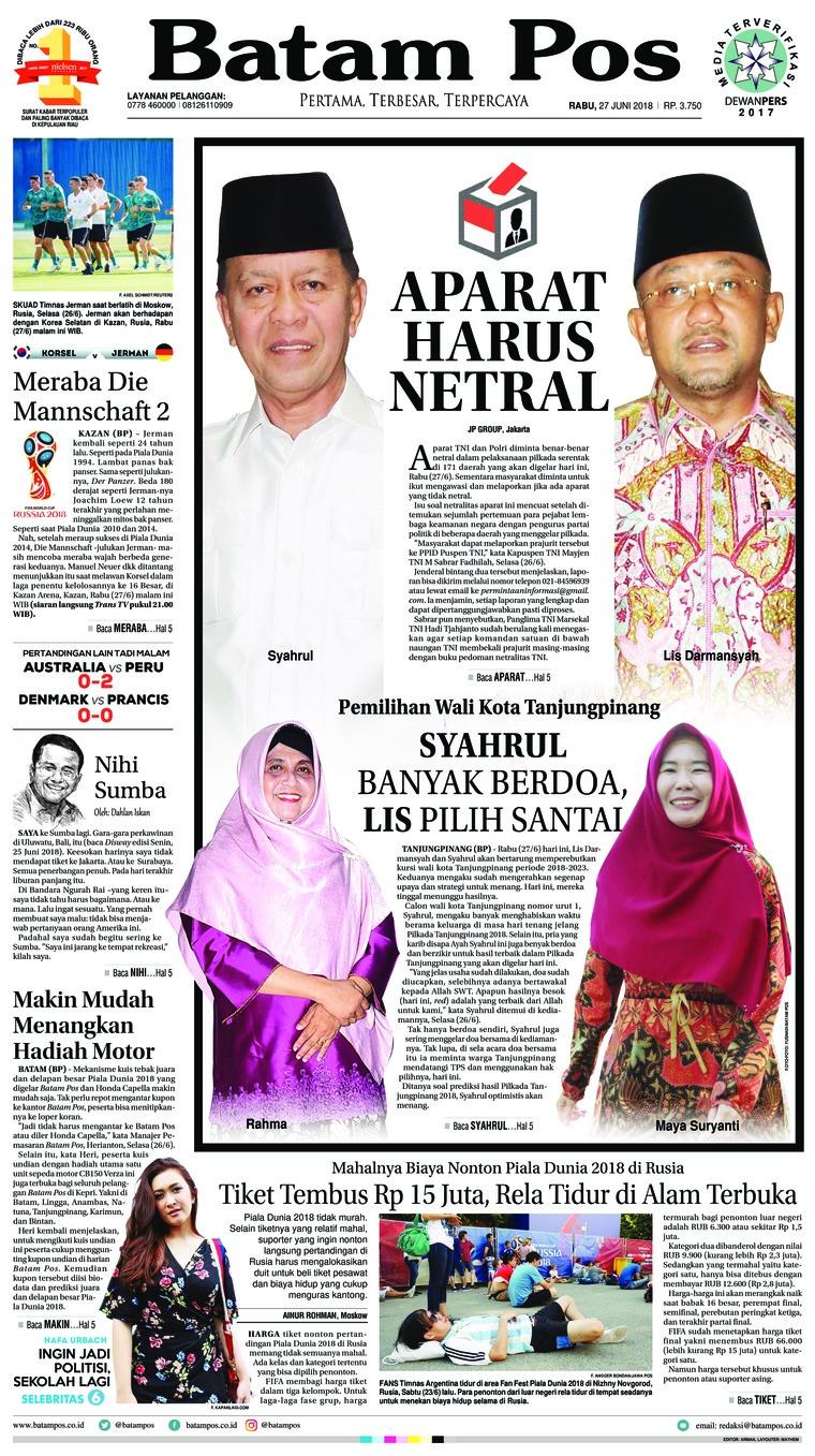 Koran Digital Batam Pos 27 Juni 2018