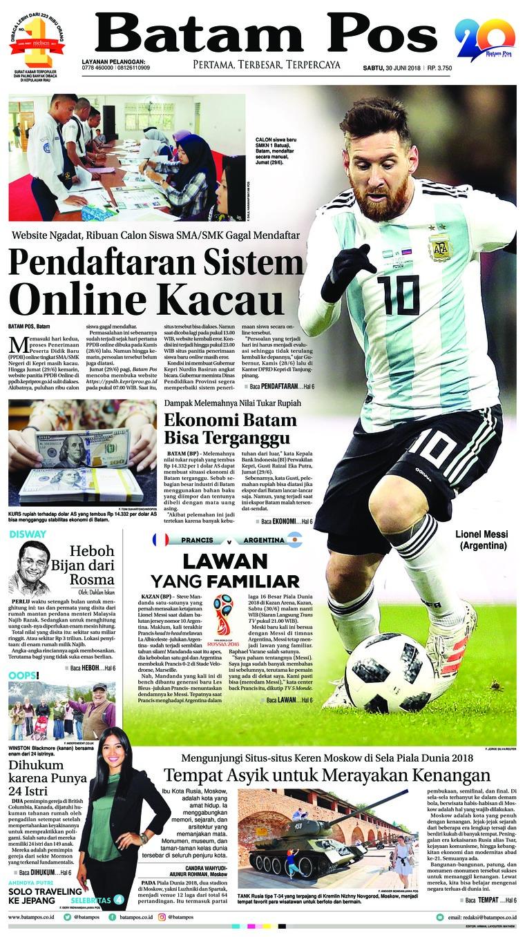 Koran Digital Batam Pos 30 Juni 2018