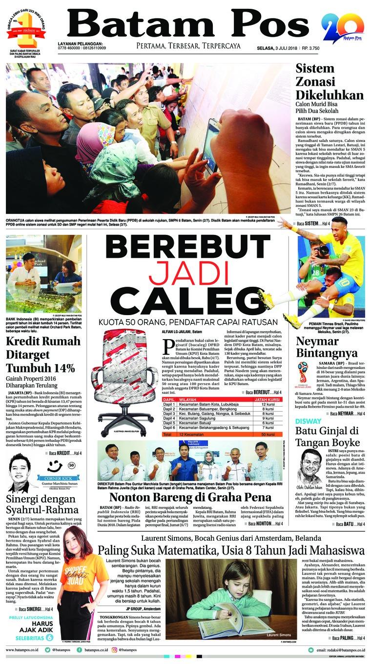 Koran Digital Batam Pos 03 Juli 2018