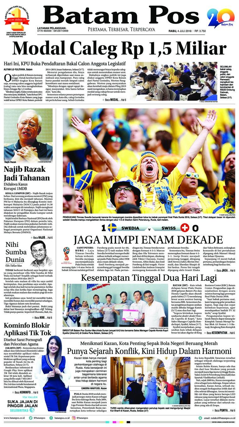 Koran Digital Batam Pos 04 Juli 2018
