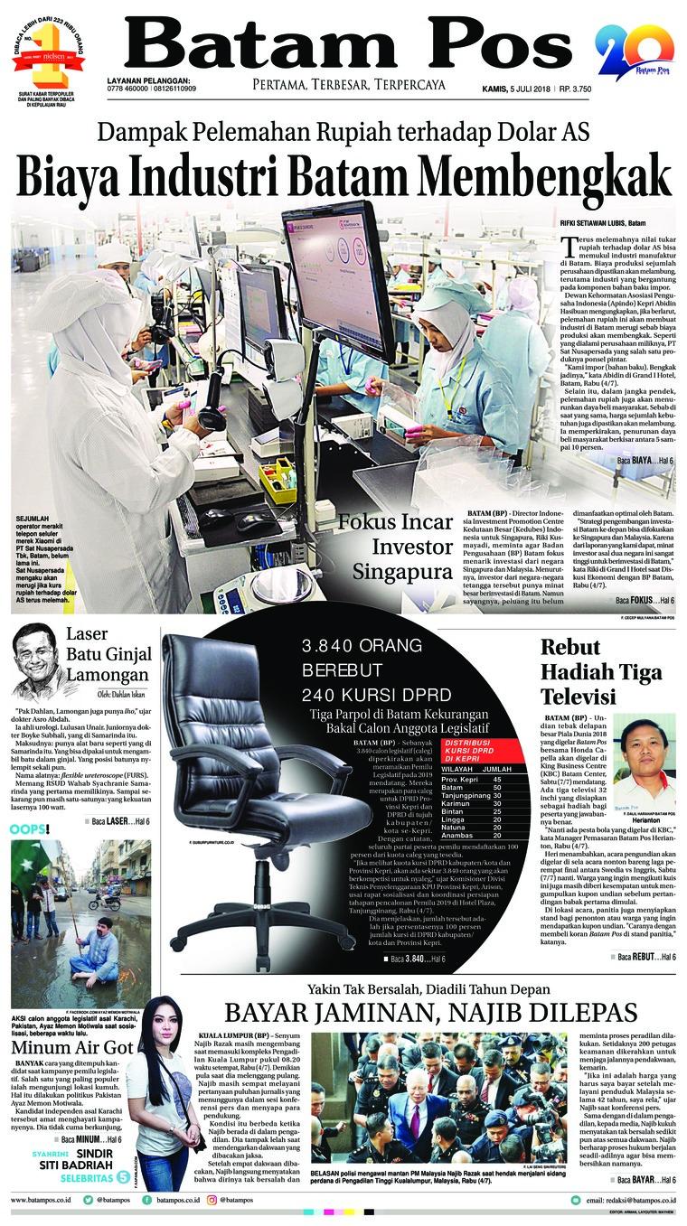 Koran Digital Batam Pos 05 Juli 2018