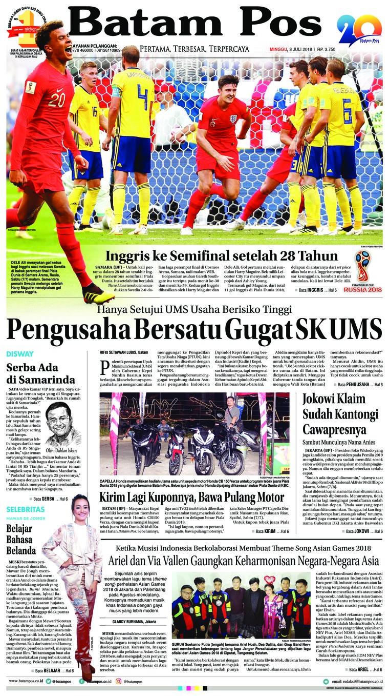 Koran Digital Batam Pos 08 Juli 2018
