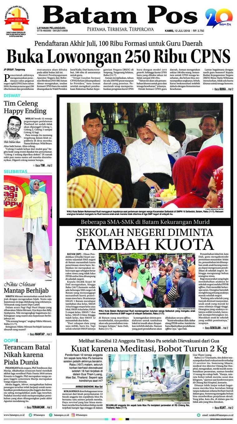 Koran Digital Batam Pos 12 Juli 2018