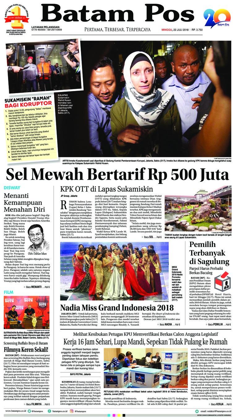 Koran Digital Batam Pos 22 Juli 2018