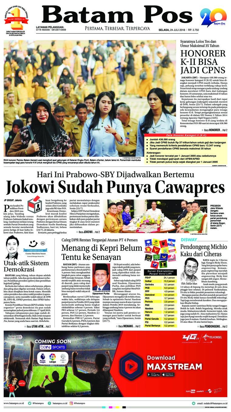 Batam Pos Digital Newspaper 24 July 2018