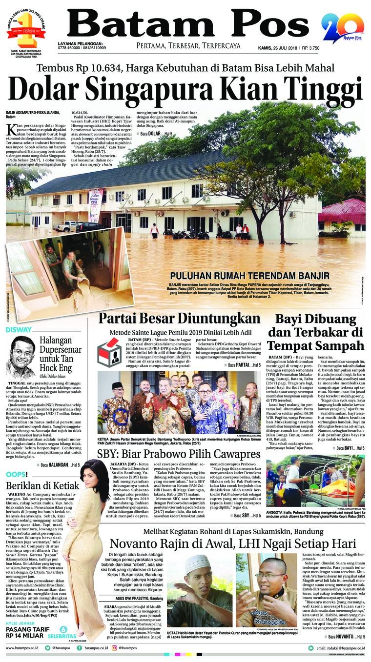 Batam Pos Digital Newspaper 26 July 2018