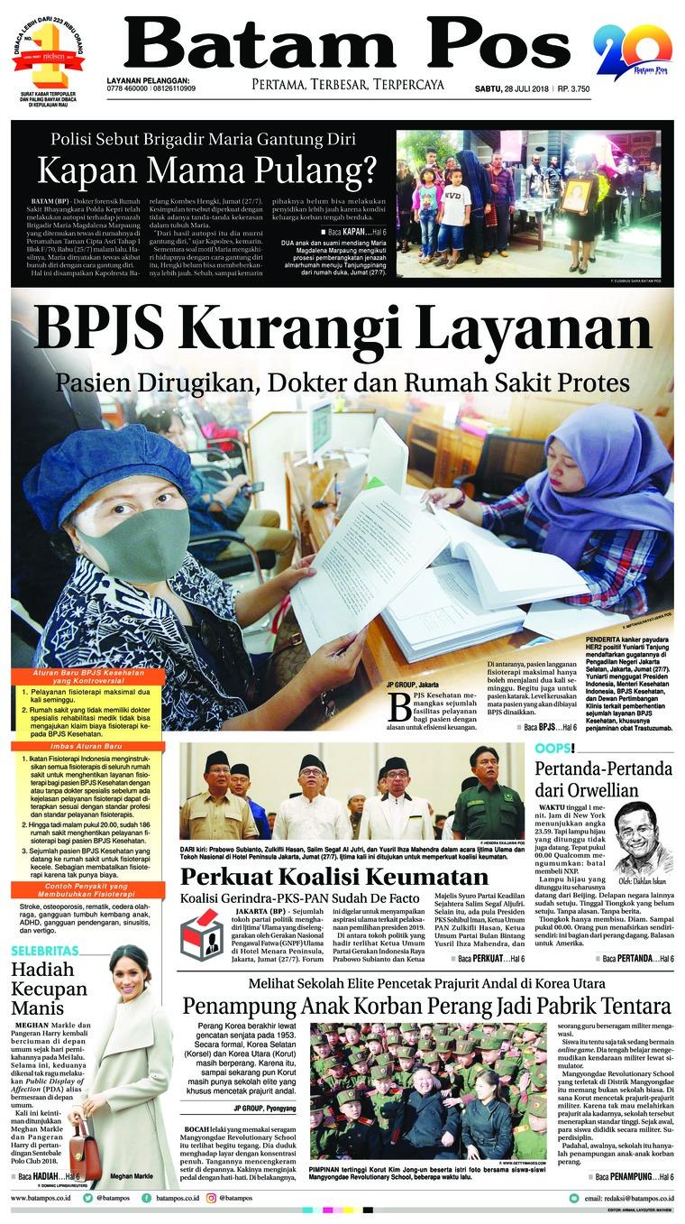 Batam Pos Digital Newspaper 28 July 2018