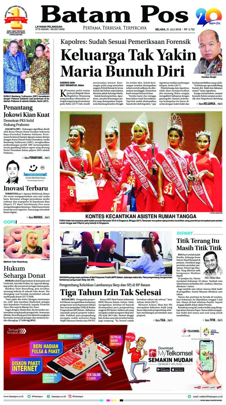 Koran Digital Batam Pos 31 Juli 2018