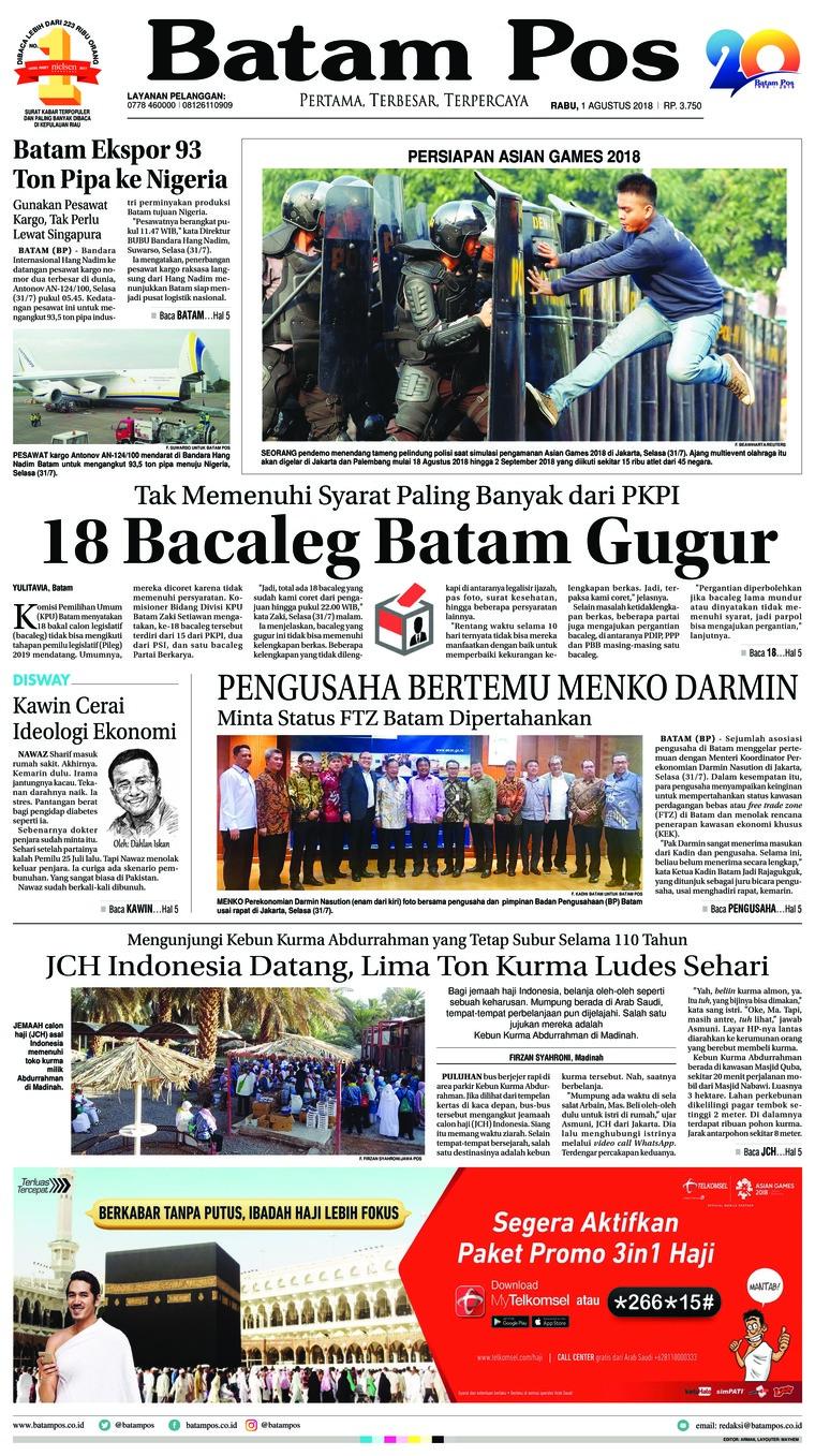 Koran Digital Batam Pos 01 Agustus 2018