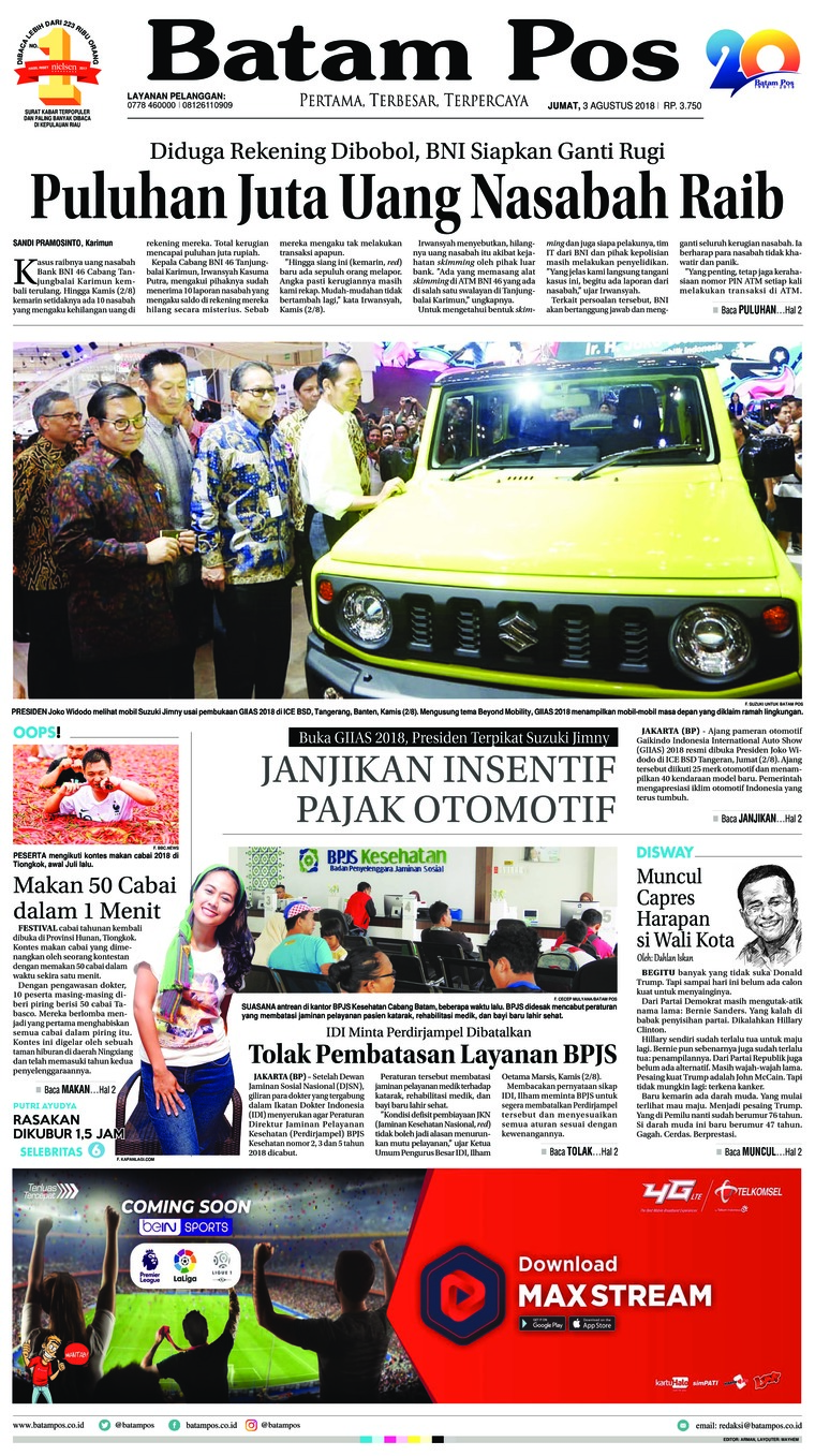 Batam Pos Digital Newspaper 03 August 2018