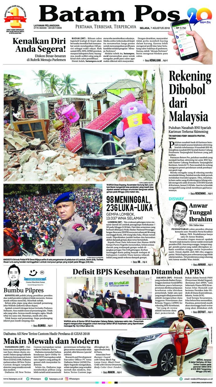 Koran Digital Batam Pos 07 Agustus 2018