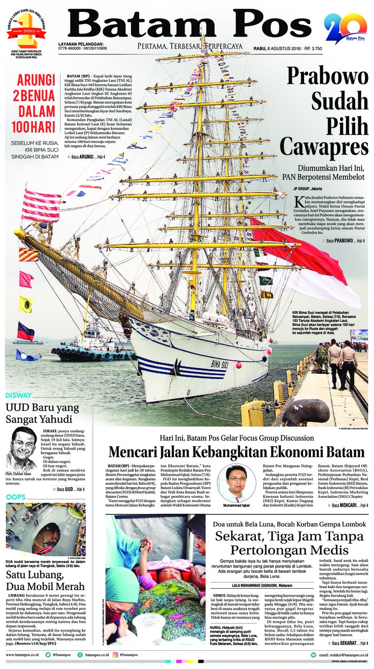 Batam Pos Digital Newspaper 08 August 2018