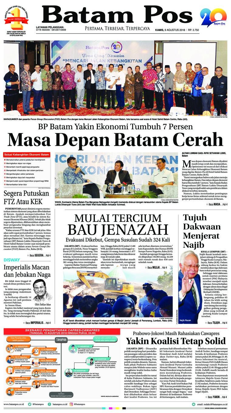 Koran Digital Batam Pos 09 Agustus 2018