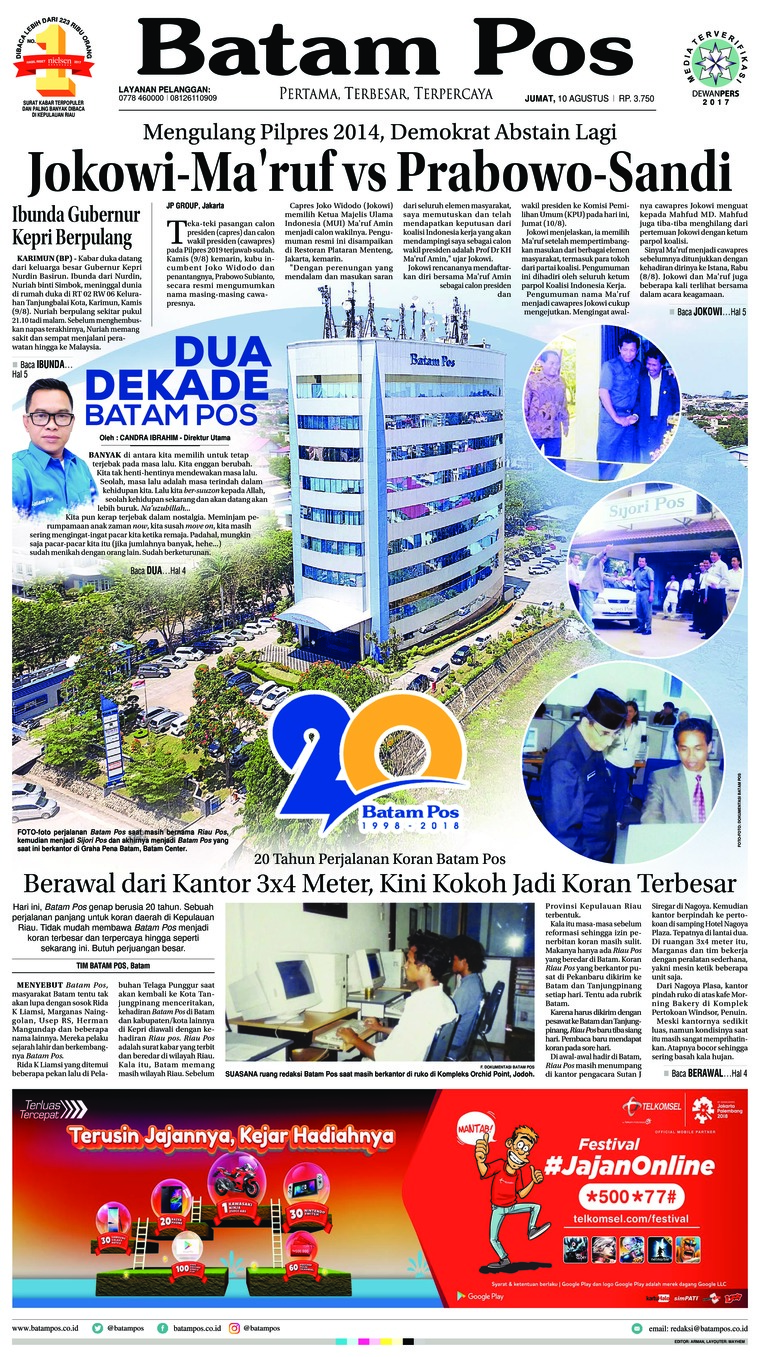 Koran Digital Batam Pos 10 Agustus 2018