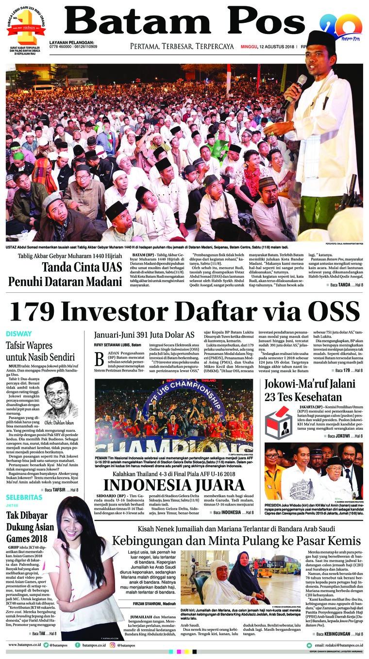 Koran Digital Batam Pos 12 Agustus 2018
