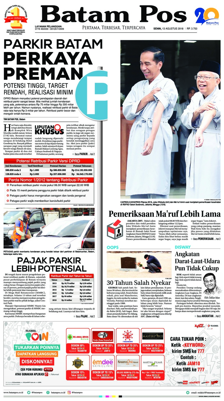 Batam Pos Digital Newspaper 13 August 2018