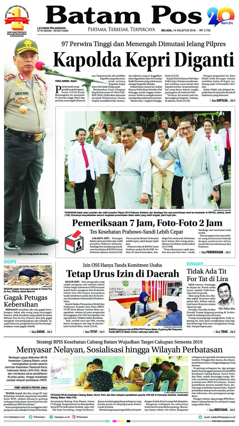 Koran Digital Batam Pos 14 Agustus 2018