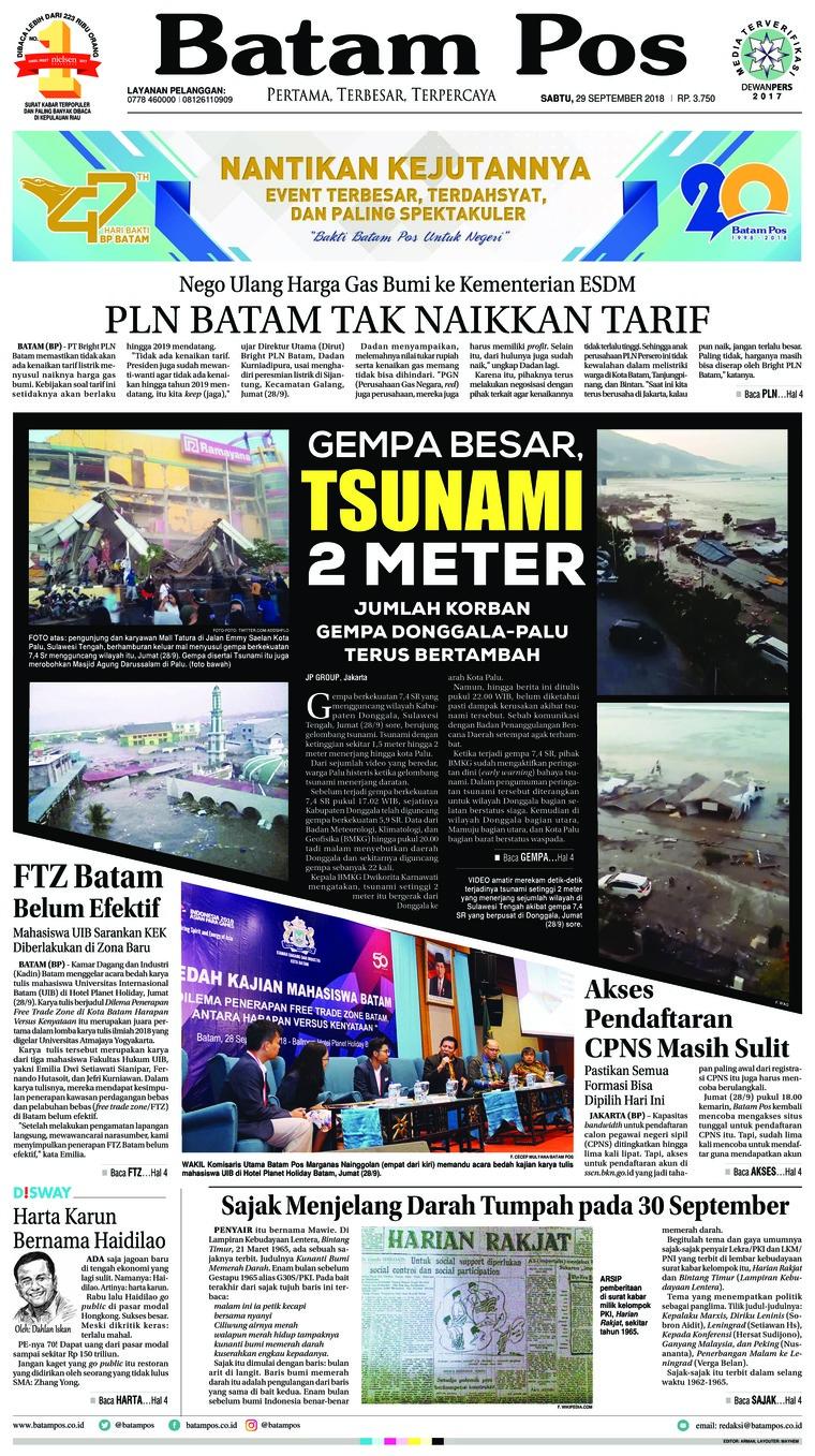 Koran Digital Batam Pos 29 September 2018