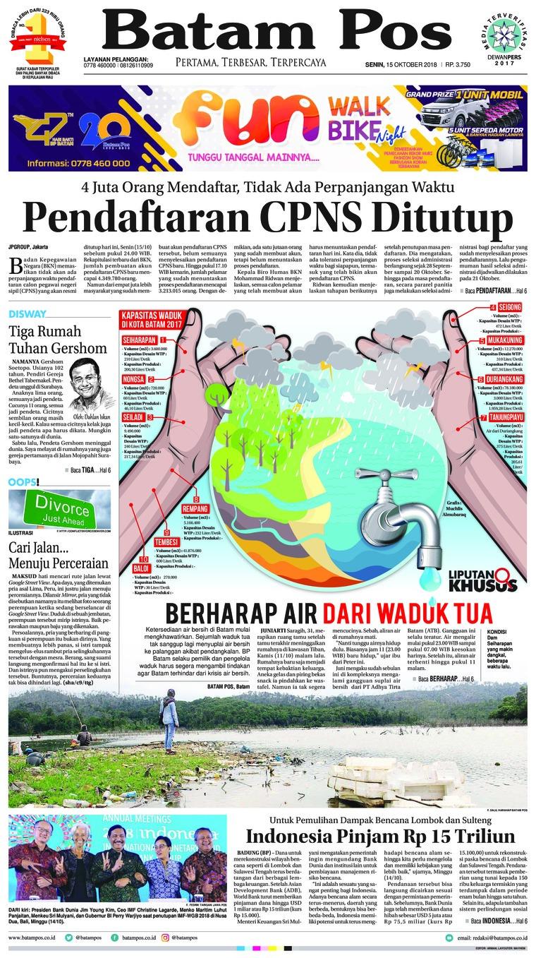Koran Digital Batam Pos 15 Oktober 2018