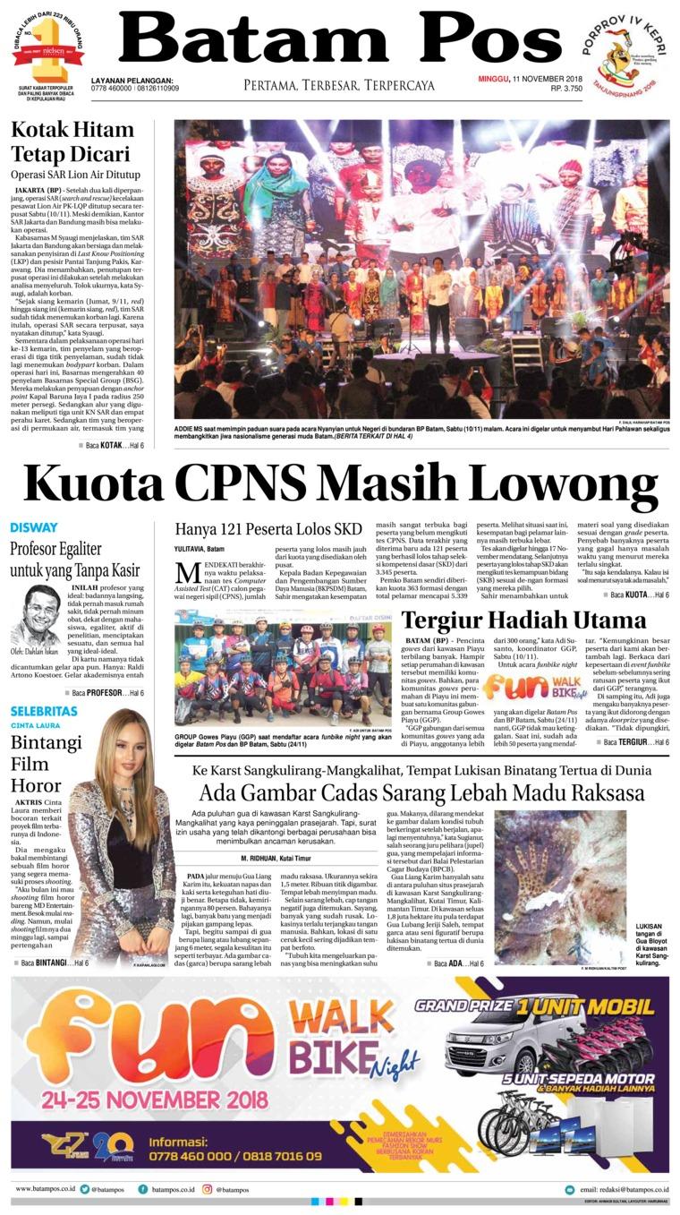 Batam Pos Digital Newspaper 11 November 2018