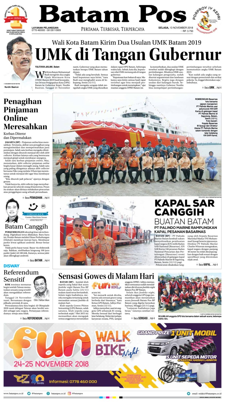Batam Pos Digital Newspaper 13 November 2018