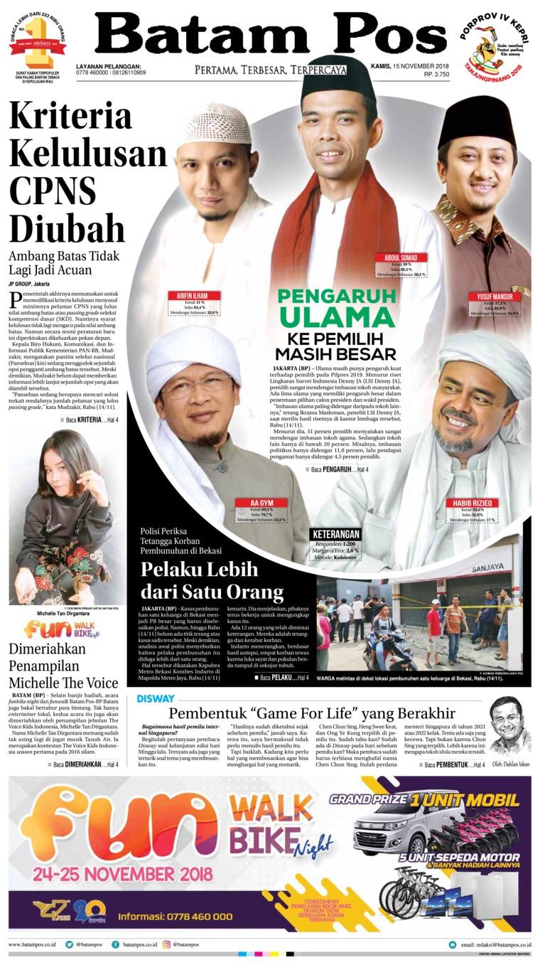 Batam Pos Digital Newspaper 15 November 2018