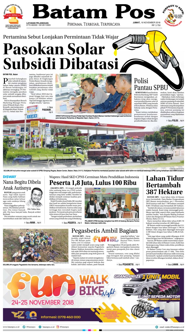 Batam Pos Digital Newspaper 16 November 2018
