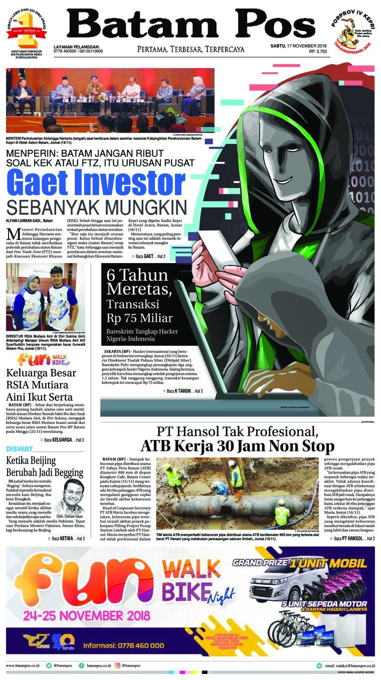 Koran Digital Batam Pos 17 November 2018