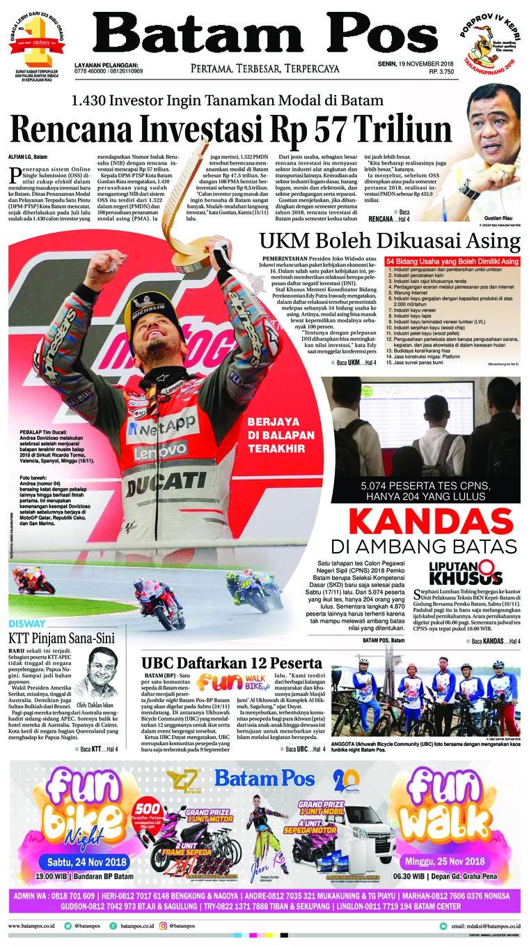 Batam Pos Digital Newspaper 19 November 2018