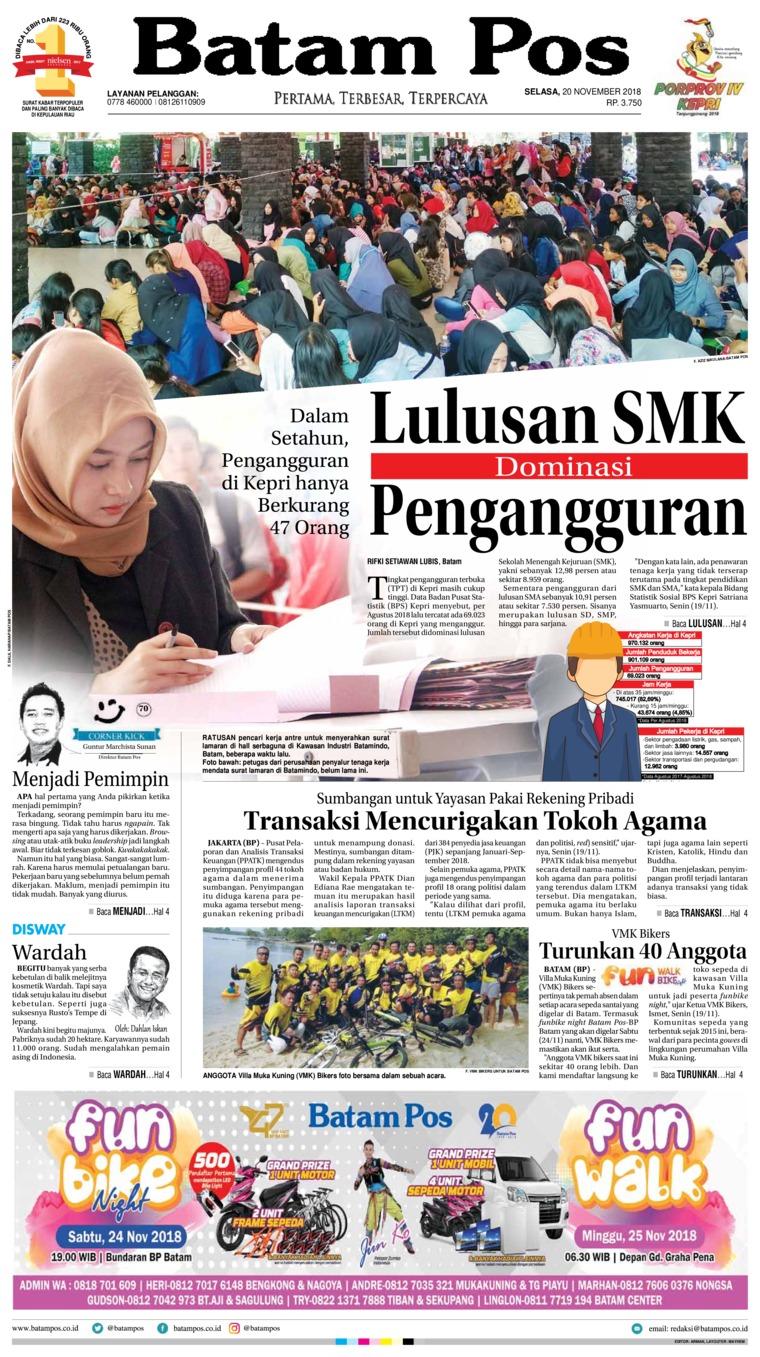 Batam Pos Digital Newspaper 20 November 2018