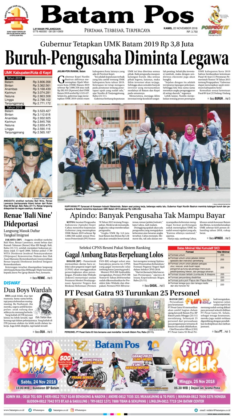 Koran Digital Batam Pos 22 November 2018