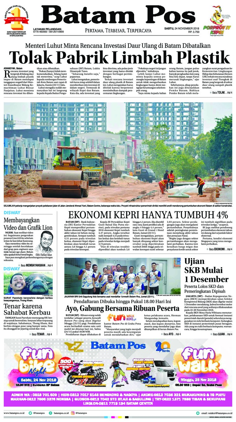 Batam Pos Digital Newspaper 24 November 2018
