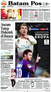 Cover Batam Pos 14 Februari 2018