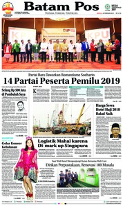 Batam Pos Cover 18 February 2018