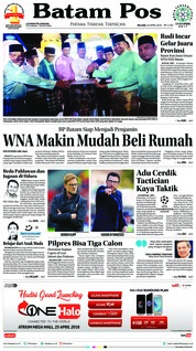 Cover Batam Pos 24 April 2018
