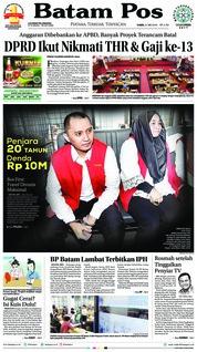 Batam Pos Cover 31 May 2018