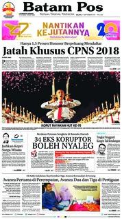 Cover Batam Pos 11 September 2018