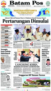 Cover Batam Pos 22 September 2018