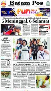 Cover Batam Pos 13 Oktober 2018